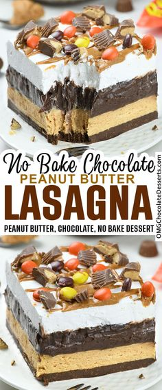 Chocolate Peanut Butter Lasagna - garnished with Reese's peanut butter cups and Reese's Pieces and peanut butter drizzle, this lasagna is a chocolate peanut butter dream come true. #reeses #cups #peanut #butter #dessert #chocolate Jello Desserts, Potluck Desserts, No Bake Desserts, Just Desserts, Delicious Desserts, Dessert Recipes, Layered Desserts, Peanut Butter Lasagna, Peanut Butter Desserts