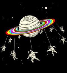 rainbow planet #astronauts #illustration