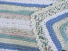 Handmade Cotton Crochet Rug - CUSTOM ORDER  Large Rectangle Rug in Soft Pastel Colors with Scallop Trim Rag Rug Etsy