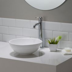 KRAUS Elavo Small Round Ceramic Vessel Bathroom Sink in White with Pop Up Drain in Chrome at The Home Depot - Mobile Drop In Bathroom Sinks, Single Handle Bathroom Faucet, Vessel Sink Bathroom, Bathroom Faucets, Bathroom Ideas, Bathrooms, Basement Bathroom, Small Bathroom, Pool Bathroom