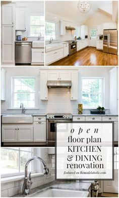 Open Floor Plan White Kitchen and Dining Room Renovation featured on Remodelaholic.com #renovation #whitekitchen #openfloorplan