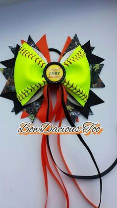 Camo Softball Hair Bow - REAL ball $15.50 Softball Headbands, Softball Hairstyles, Tiger Lilies, Lily, Hair Accessories, Handmade Gifts, Camouflage, Sports, Kid Craft Gifts