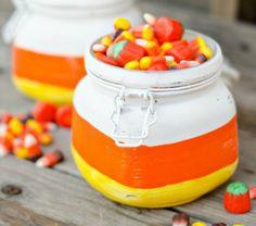 Make candy corn jars for Halloween.