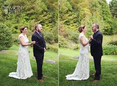 First look, lace wedding dress, gray suit with vest Vows Bridal Shop, Watertown MA: Liv Harris