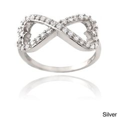 Icz Stonez Silver or Gold Over Silver Infinity Heart Ring (Silver Size 8), Women's, White
