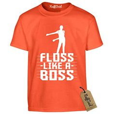 14ffa4debd Find the best prices on NuffSaid Youth Floss Like A Boss T-Shirt - Back  Pack Kid Flossin Emote Dance Dance Tee (YM: Orange - White Ink) and save  money.