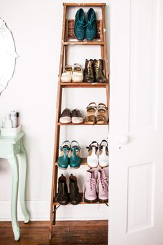 At Home with Katie Shelton - using a old ladder as shelving/storage