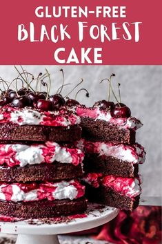 This Gluten-Free Black Forest Cake combines rich chocolate cake, layers with cherry syrup, and slightly sweetened whipped cream frosting. Sweetened Whipped Cream, Whipped Cream Frosting, Best Gluten Free Desserts, No Bake Desserts, Chocolate Cherry, Chocolate Cake, Baking For Beginners, Cherry Syrup, Quick Cake