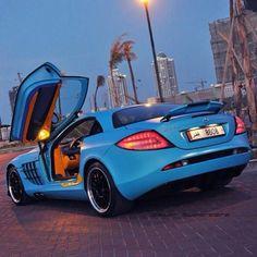 Baby blue McLaren SLR 722 from Qatar