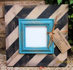 4x4 Distressed Picture Frame Black / Linen by ShirleyFrames