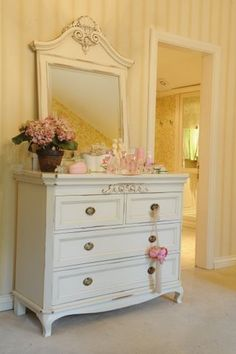Bedroom Shabby Chic Design, Pictures, Remodel, Decor and Ideas - page 76  @Randi Paradiso   Oooo striped walls...hmmmm