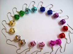 Colorful Jingle Bell Earrings - great gift for Christmas swaps
