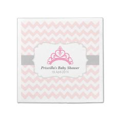 Princess Tiara, Pink Chevron, Baby Girl Shower Paper Napkin