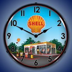 Collectable Sign and Clock 1203358 14 Shell Station Lighted Clock >>> More info could be found at the image url. Clock Decor, Wall Clocks, Shell Oil Company, Metal Lawn Chairs, Shell Gas Station, American Gas, Royal Dutch Shell, Unique Ceiling Fans, Signs