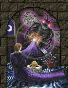 """The Master and His Pupil. Mixed media, color pencil and Adobe Photoshop. 8.5""""x5"""" (2012). Illustration tittle page for the fairy tale The Master and His Pupil."""