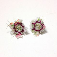 Fiber earrings with vintage fabric and dark pink stitching on Etsy, $20.00