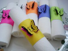 12 butterfly napkin rings $6.00 or could just make them from strips of card stock and 3d butterfly stickers