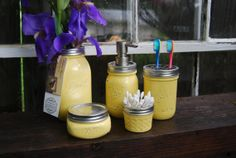 The Original 5 PC Mason Jar Bath Set Warm Yellow by talona on Etsy, accessories jar house Pot Mason Diy, Mason Jar Lamp, Mason Jar Projects, Mason Jar Crafts, Bathroom Colors, Bathroom Sets, Colorful Bathroom, Master Shower Tile, Pots
