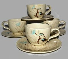 Red Wing Pottery Coffee Cups / Mugs w/ Saucers by ChicMouseVintage