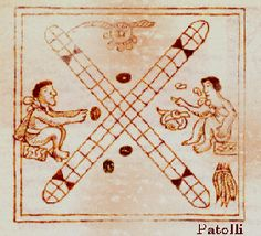 Ancient Aztec Game - Patolli: was played on a kind of table rock in the form of a cross, and at each of the four extremes there were cells or squares.  Beans marked with dots symbolizing numbers were used.  Each player threw his beans and advanced on the board. The first player to make his way around the board won the game. (2500 BC)