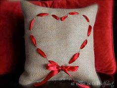Burlap and heart pillow DIY -- So cute! Valentine Love, Valentines, Valentine Pillow, Burlap Pillows, Throw Pillows, Cute Crafts, Diy Crafts, Heart Pillow, Heart Cushion
