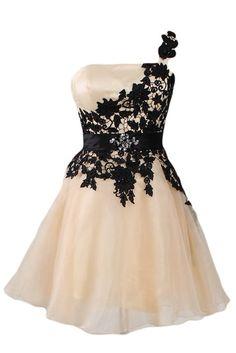 Sunvary Glamour Ein-Schulter Abendkleider Kurz Organza Ballkleider Partykleider-38-Champagner