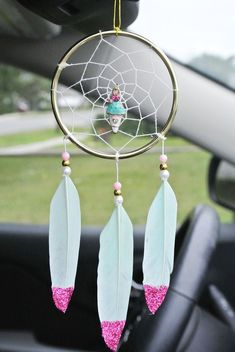 Kawaii Accessory for Car, Pastel Dream Catcher For Girls, Little Girls Room Decor, First Car Gift for Teens, For Kids - Home design ideas Car Accessories For Girls, Kawaii Accessories, Unique Birthday Gifts, Birthday Gifts For Kids, Small Dream Catcher, Dream Catchers, Video Rosa, Gif Disney, Girly Car