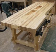 Woodworking Bench Mark Hochstein uploaded this image to 'Woodworking/Workbench'. See the album on Photobucket. Woodworking Bench Plans, Learn Woodworking, Custom Woodworking, Woodworking Apron, Woodworking Videos, Workbench Designs, Workbench Plans, Garage Workbench, Build Your Own Garage