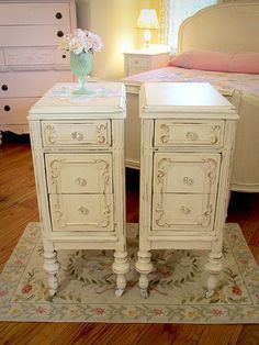 I want these beside tables..! ...This website is fantastic. It sells refinished, shabby chic style furniture.