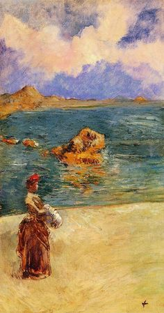 Jean-Louis Forain La Muse de Flots hand painted oil painting reproduction on canvas by artist Jean Leon, Flow Arts, Post Impressionism, Expositions, Oil Painting Reproductions, Art Moderne, Beach Scenes, Old Master, All Art