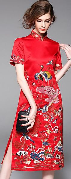 Vintage Stand Collar Embroidery Cheongsam Bodycon Dress