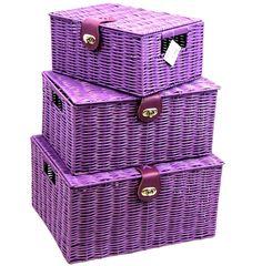 Arpan Set of 3 Resin Woven Storage Basket Box With Lid & Lock - Purple…