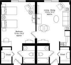 Motel room Room layouts and Layout on Pinterest