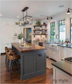 Home Decor Kitchen, Diy Kitchen, Kitchen Interior, Kitchen Ideas, Walnut Kitchen, Kitchen Sinks, Design Kitchen, American Kitchen Design, Rustic Kitchen