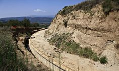 The site where archaeologists are excavating a ancient tomb in Amphipolis, northern Greece. Photograph: Alexandros Michailidis/AP