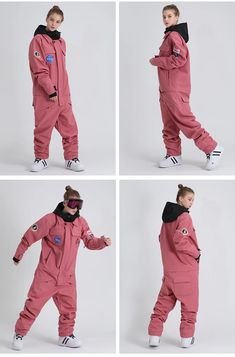 Ski Fashion, Winter Fashion, Sporty Fashion, Fashion Women, Ski Jumpsuit, Pink Jumpsuit, Snowboard Suit, Chica Punk, Snowboarding Men