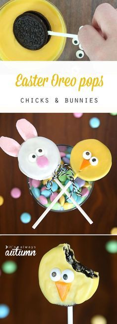 These are so cute! Easter bunny and Easter chick Oreo pops recipe. Easy to make with video tutorials. My kids would love this idea for dessert!