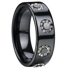 COI Black Tungsten Carbide Ring With Cubic Zirconia - TG2360