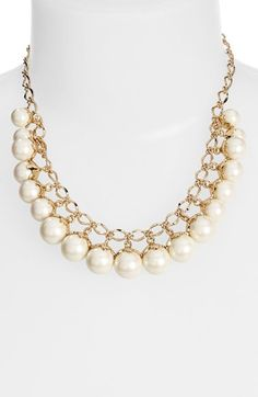 kate spade new york 'petaled pears' faux pearl frontal necklace | Nordstrom