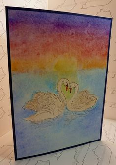 A 5 x 7 Handmade Anniversary Card with Stampendous Swan Pair and Koi Watercolors
