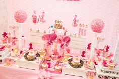 Pink and gold princess birthday party! See more party ideas at CatchMyParty.com!