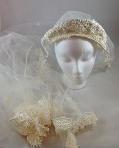 Vintage Wedding Veil,  Bridal Head Piece With Long Veil, Off White Appliqué Bridal Veil, One Tier Wedding Veil, Wedding Head Band w Veil by UniqueTreasuresPA on Etsy