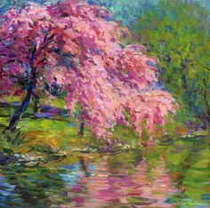 Blossoming cherry tree landscape painting by Svetlana Novikova