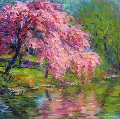 "Saatchi Online Artist: Svetlana Novikova; Giclée Printmaking ""Blossoming cherry tree landscape painting by Svetlana Novikova"""