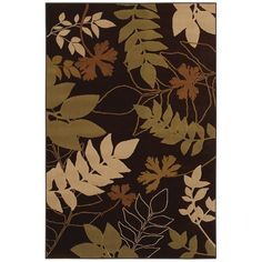 """Transitional Brown Floral-Print Rug (5'3"""" x 7'10"""")"""