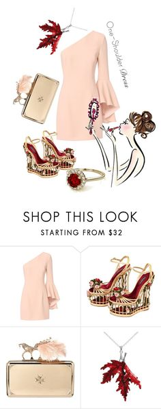 """""""Party Style: One-Shoulder Dress"""" by kari-c ❤ liked on Polyvore featuring Exclusive for Intermix, Dolce&Gabbana, Alexander McQueen and dress"""