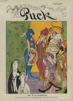 Feb 28, 1914 Puck cover with an illustration by Nelson Greene, 1914 US Feb 28, 1914 Puck cover with an illustration by Nelson Greene, 1914 US Some people in 1914 seemed to have been under the impression that the most fashionable women would dye or would soon be dying their hair outrageous colors to match the outrageous colors of their evening gowns.  I'm not sure where this idea came from, but I've seen it referenced in a number of cartoons from that year