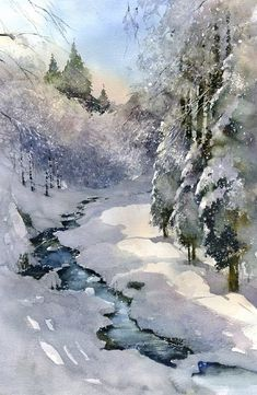 Best Ideas For Winter Art Painting Acrylics Winter Painting, Winter Art, Long Winter, Painting Art, Painting Snow, Nature Artwork, Nature Paintings, Artwork Paintings, Winter Landscape