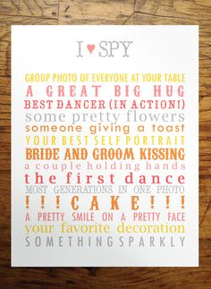 Printable I Spy Wedding Game in Citrus by EloquentPaper on Etsy, $4.00
