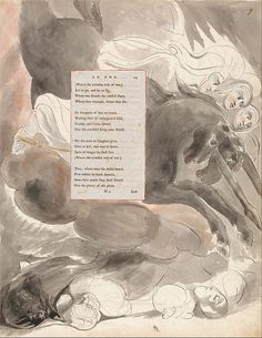 "1797-98.William Blake-The Poems of Thomas Gray, Design 73,""The Fatal Sisters.""watercolor,pen,black ink and graphite on cream-colored paper (Watercolor with pen and black ink and graphite on moderately thick, moderately textured,cream wove paper). 419х324mm.Yale Center for British Art."